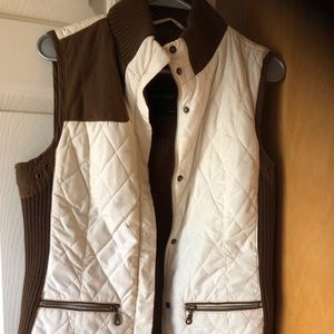 Quilted nylon and leather vest